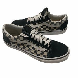 Vans Old Skool checkered black white size 8